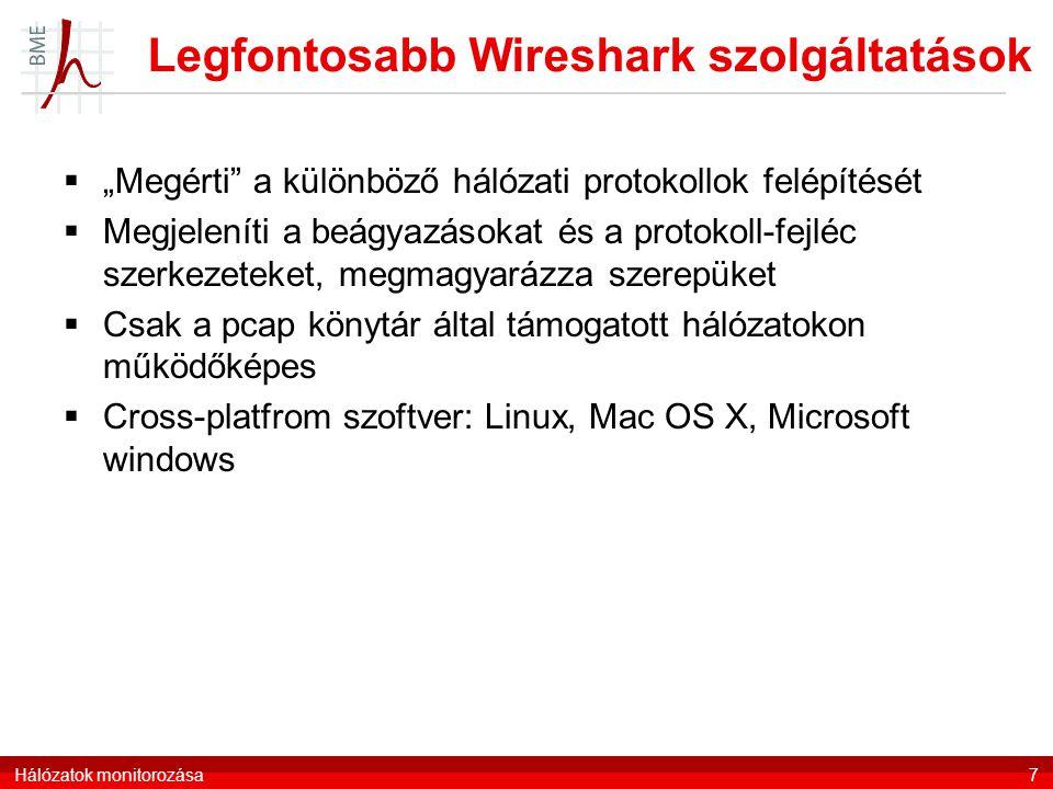 Legfontosabb Wireshark szolgáltatások