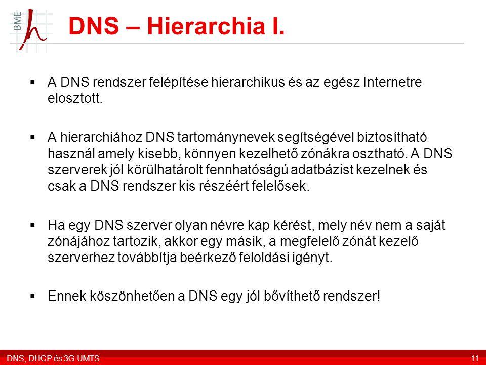 DNS – Hierarchia I. A DNS rendszer felépítése hierarchikus és az egész Internetre elosztott.