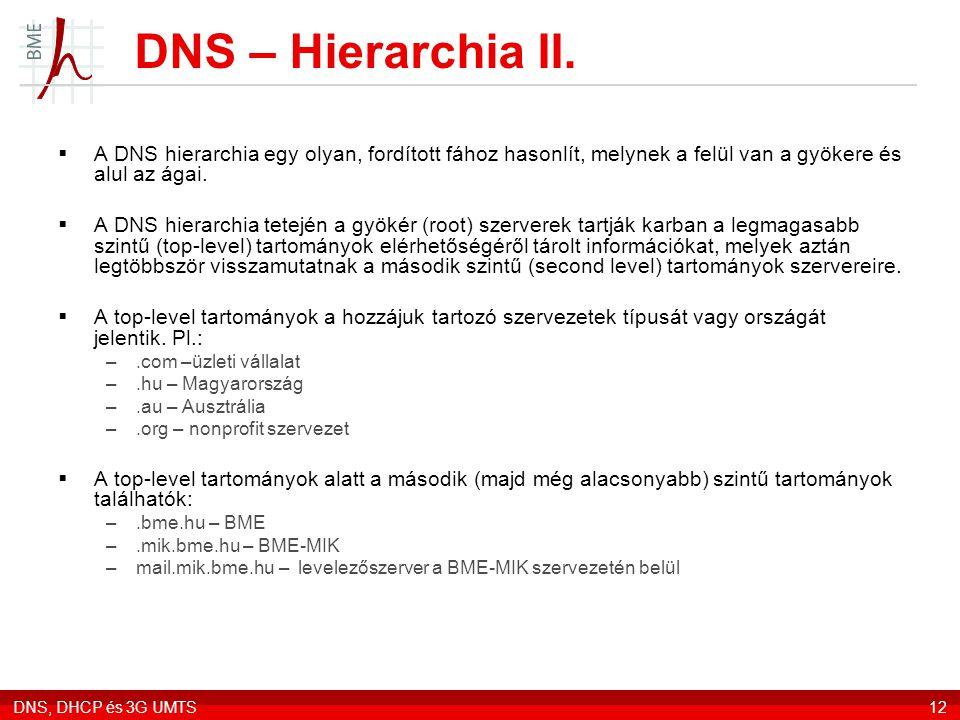 DNS – Hierarchia II. A DNS hierarchia egy olyan, fordított fához hasonlít, melynek a felül van a gyökere és alul az ágai.