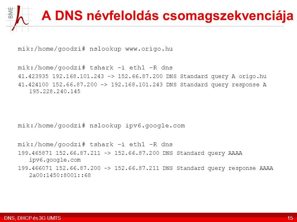 A DNS névfeloldás csomagszekvenciája
