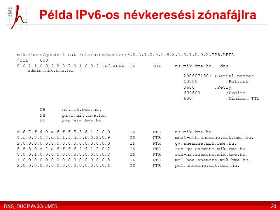 Példa IPv6-os névkeresési zónafájlra