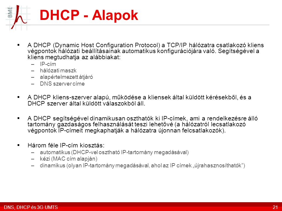 DHCP - Alapok