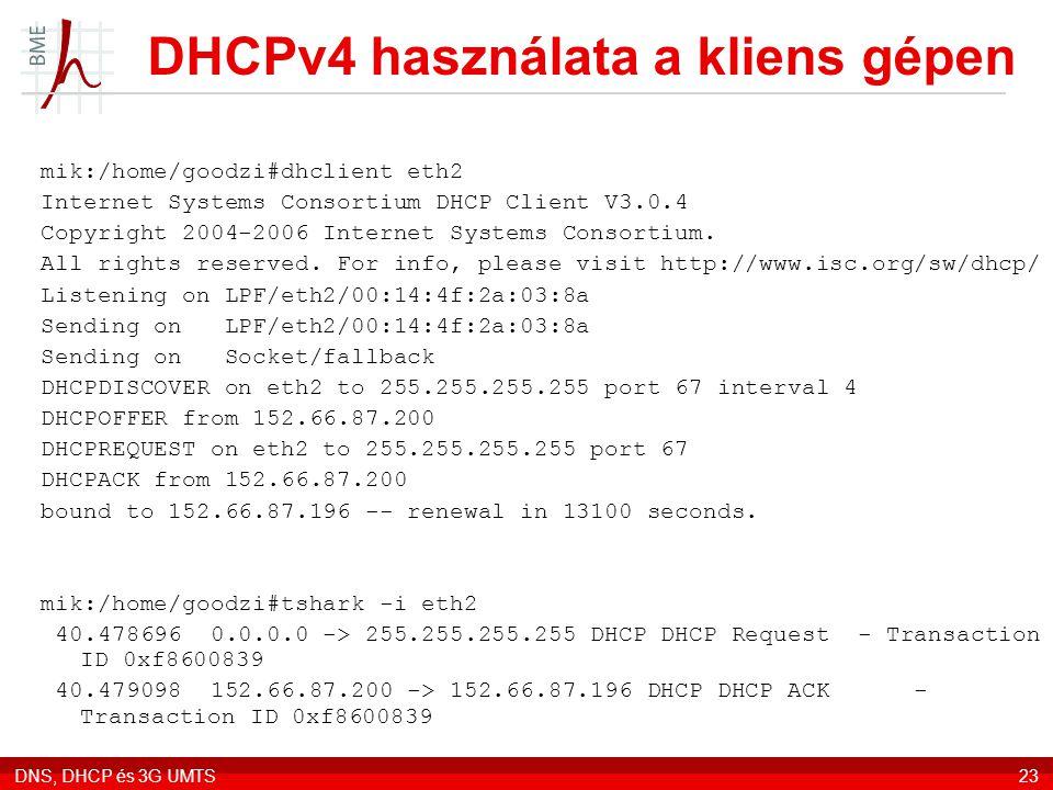 DHCPv4 használata a kliens gépen