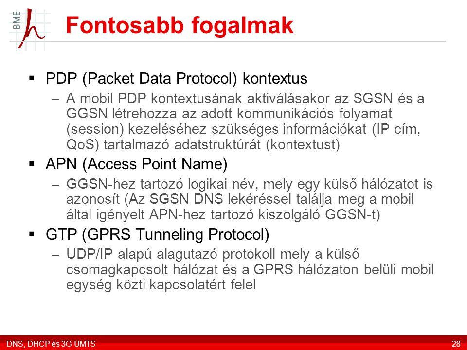Fontosabb fogalmak PDP (Packet Data Protocol) kontextus