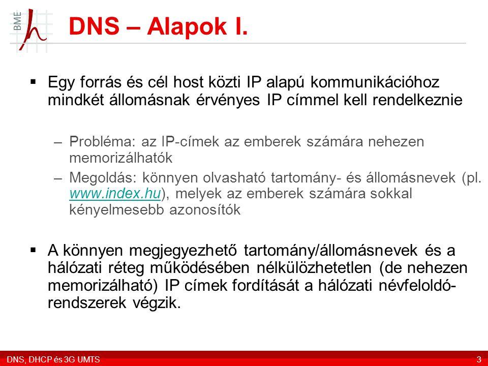 DNS – Alapok I. Egy forrás és cél host közti IP alapú kommunikációhoz mindkét állomásnak érvényes IP címmel kell rendelkeznie.