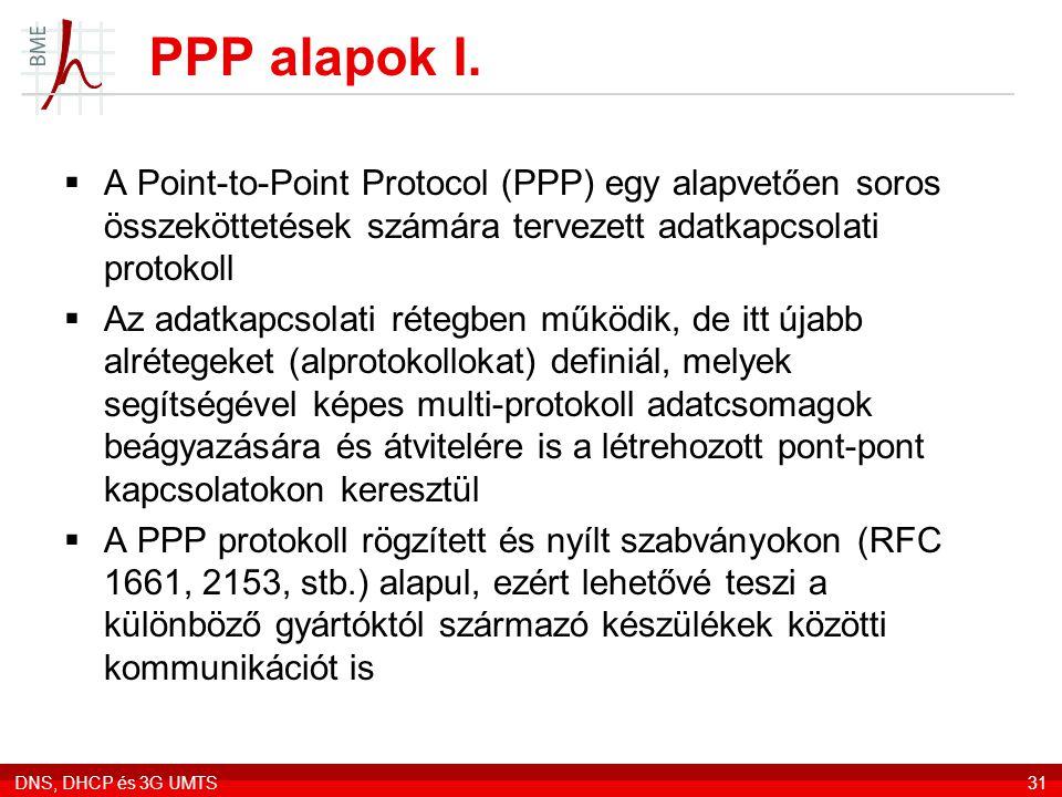 PPP alapok I. A Point-to-Point Protocol (PPP) egy alapvetően soros összeköttetések számára tervezett adatkapcsolati protokoll.
