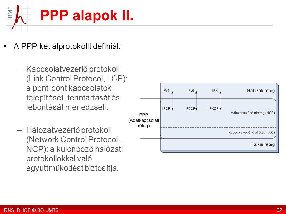 PPP alapok II. A PPP két alprotokollt definiál: