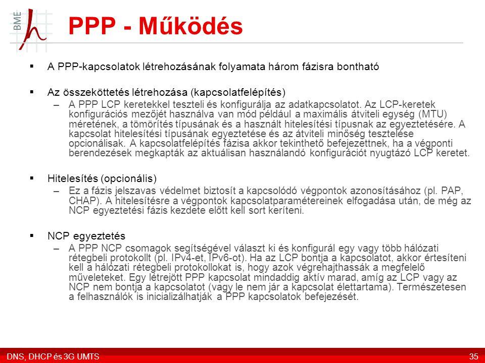 PPP - Működés A PPP-kapcsolatok létrehozásának folyamata három fázisra bontható. Az összeköttetés létrehozása (kapcsolatfelépítés)