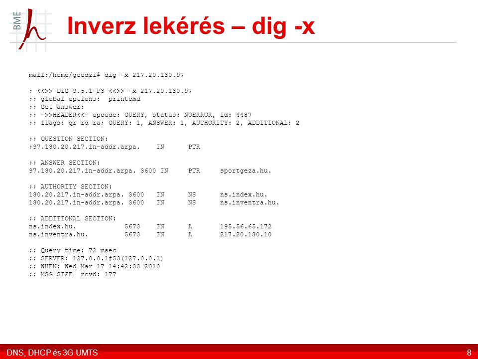 Inverz lekérés – dig -x DNS, DHCP és 3G UMTS