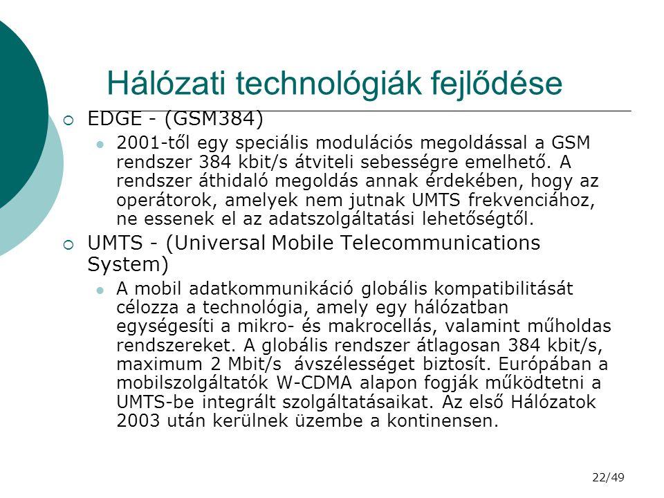 Hálózati technológiák fejlődése