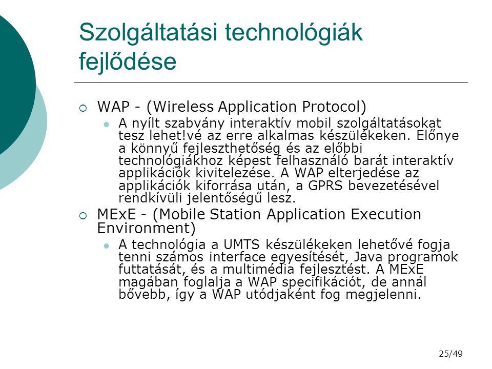 Szolgáltatási technológiák fejlődése