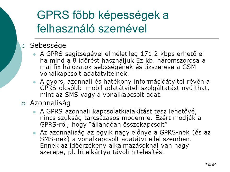 GPRS főbb képességek a felhasználó szemével