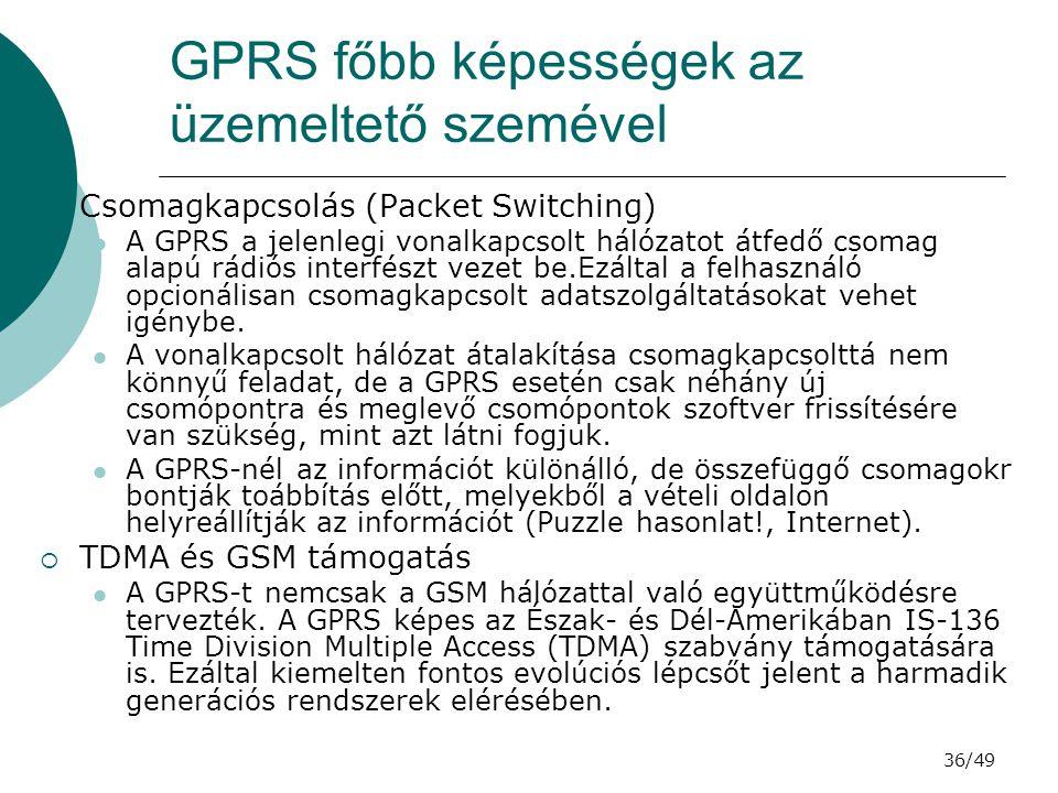 GPRS főbb képességek az üzemeltető szemével