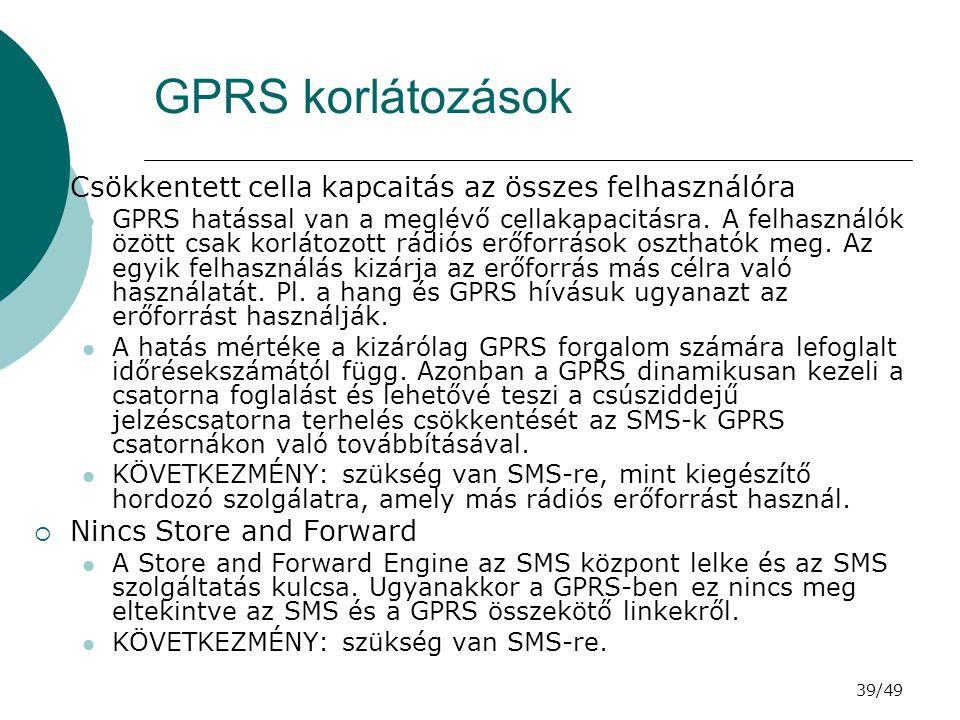 GPRS korlátozások Csökkentett cella kapcaitás az összes felhasználóra