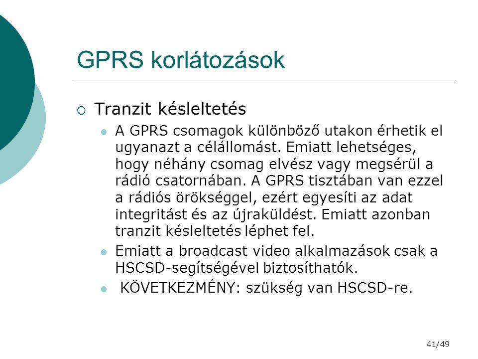 GPRS korlátozások Tranzit késleltetés