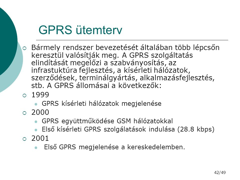 GPRS ütemterv