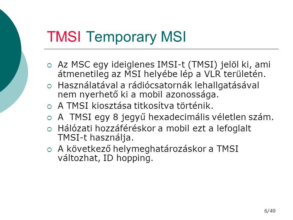 TMSI Temporary MSI Az MSC egy ideiglenes IMSI-t (TMSI) jelöl ki, ami átmenetileg az MSI helyébe lép a VLR területén.