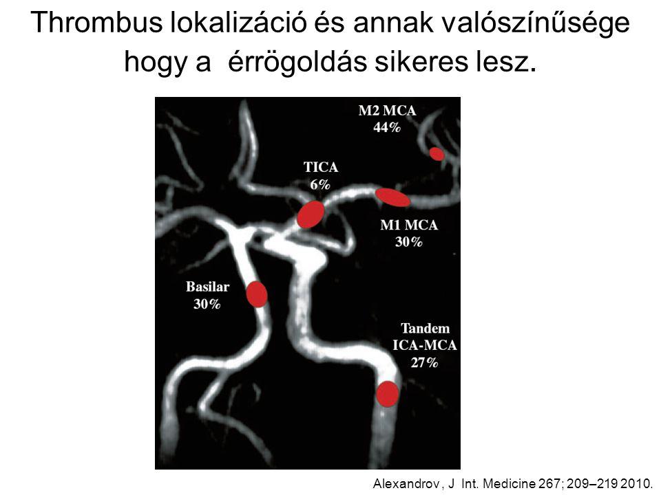 Thrombus lokalizáció és annak valószínűsége hogy a érrögoldás sikeres lesz.