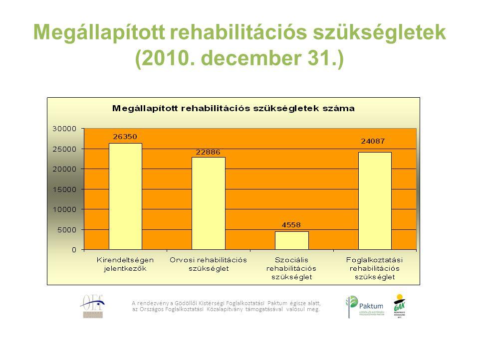 Megállapított rehabilitációs szükségletek (2010. december 31.)