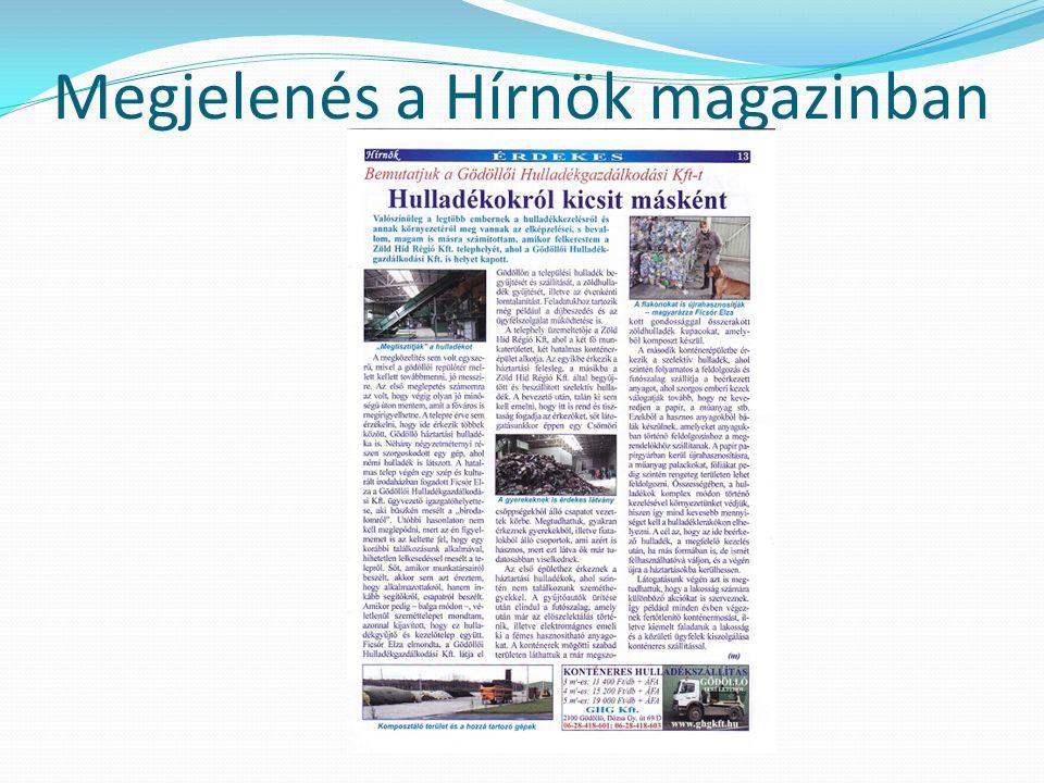 Megjelenés a Hírnök magazinban