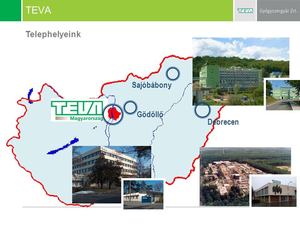 TEVA Telephelyeink Sajóbábony Gödöllő Debrecen