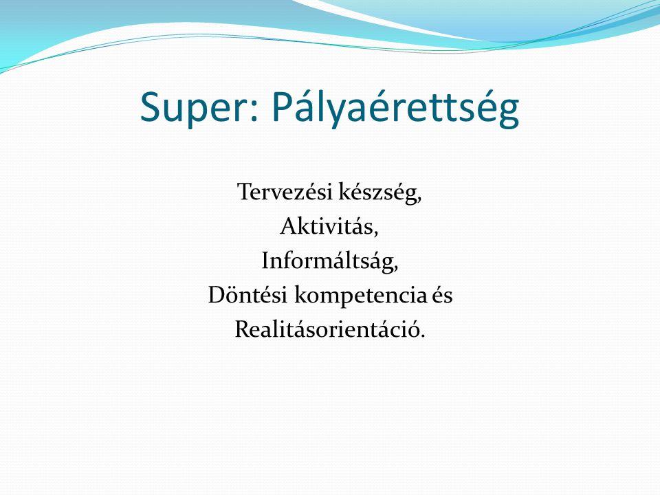 Super: Pályaérettség Tervezési készség, Aktivitás, Informáltság, Döntési kompetencia és Realitásorientáció.