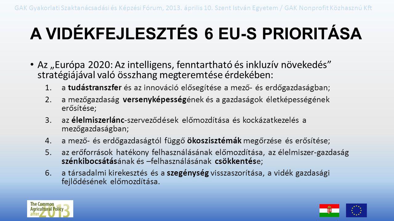 A VIDÉKFEJLESZTÉS 6 EU-S PRIORITÁSA