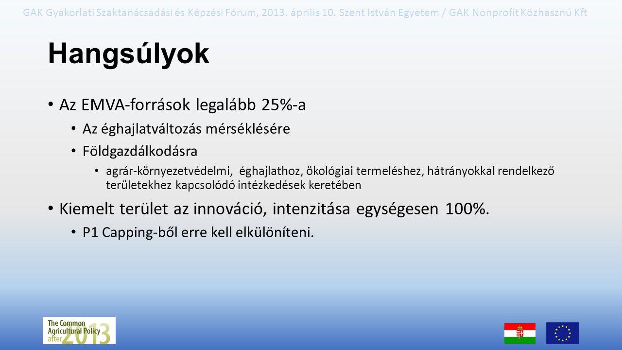 Hangsúlyok Az EMVA-források legalább 25%-a
