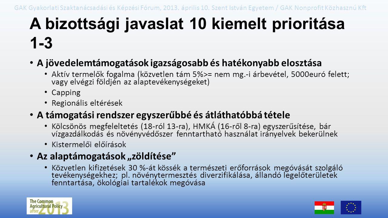 A bizottsági javaslat 10 kiemelt prioritása 1-3