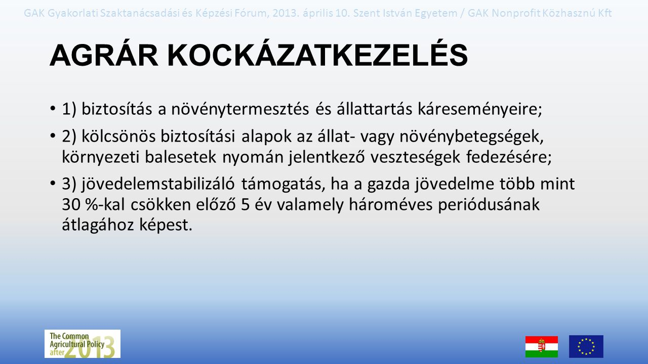 AGRÁR KOCKÁZATKEZELÉS