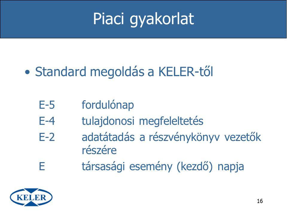 Piaci gyakorlat Standard megoldás a KELER-től E-5 fordulónap