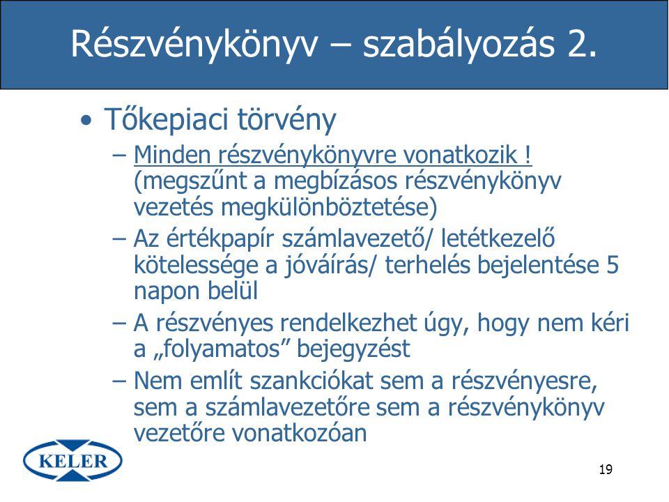 Részvénykönyv – szabályozás 2.