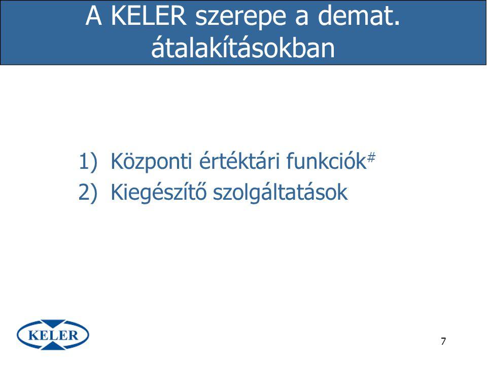 A KELER szerepe a demat. átalakításokban