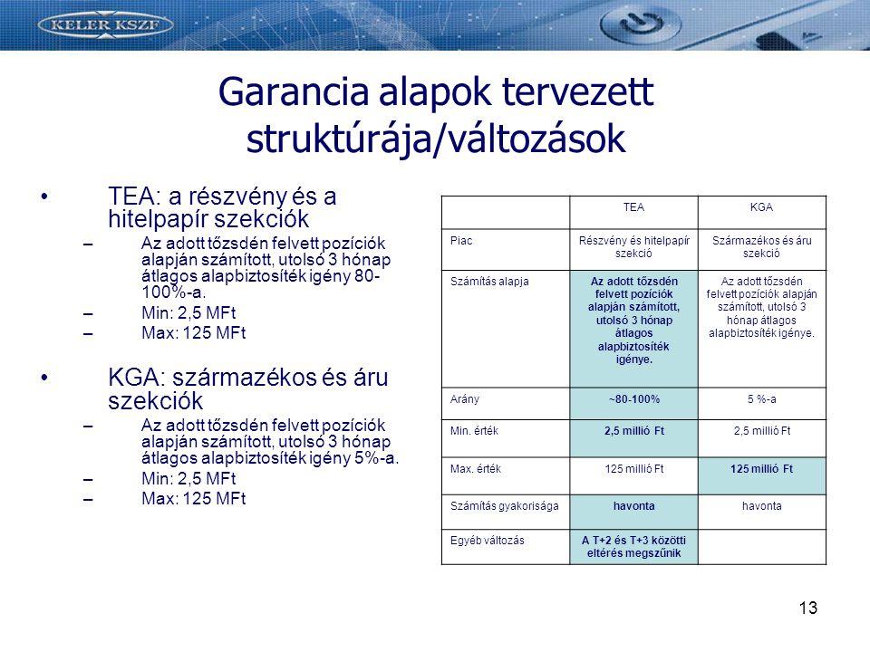 Garancia alapok tervezett struktúrája/változások