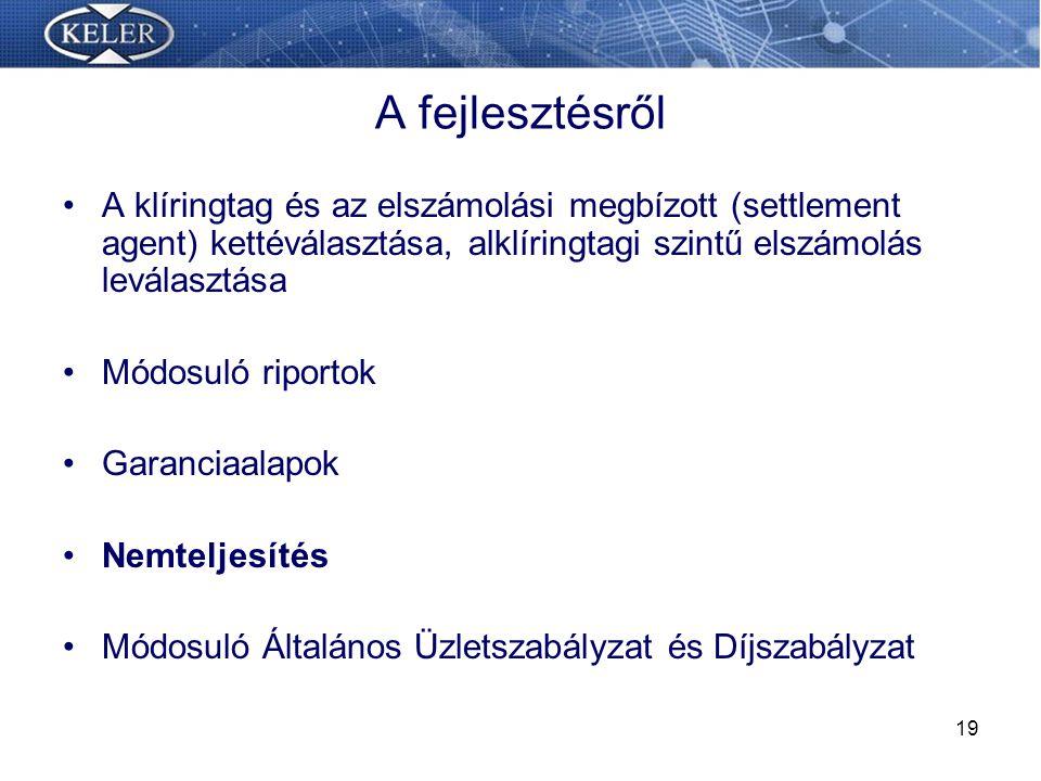 A fejlesztésről A klíringtag és az elszámolási megbízott (settlement agent) kettéválasztása, alklíringtagi szintű elszámolás leválasztása.