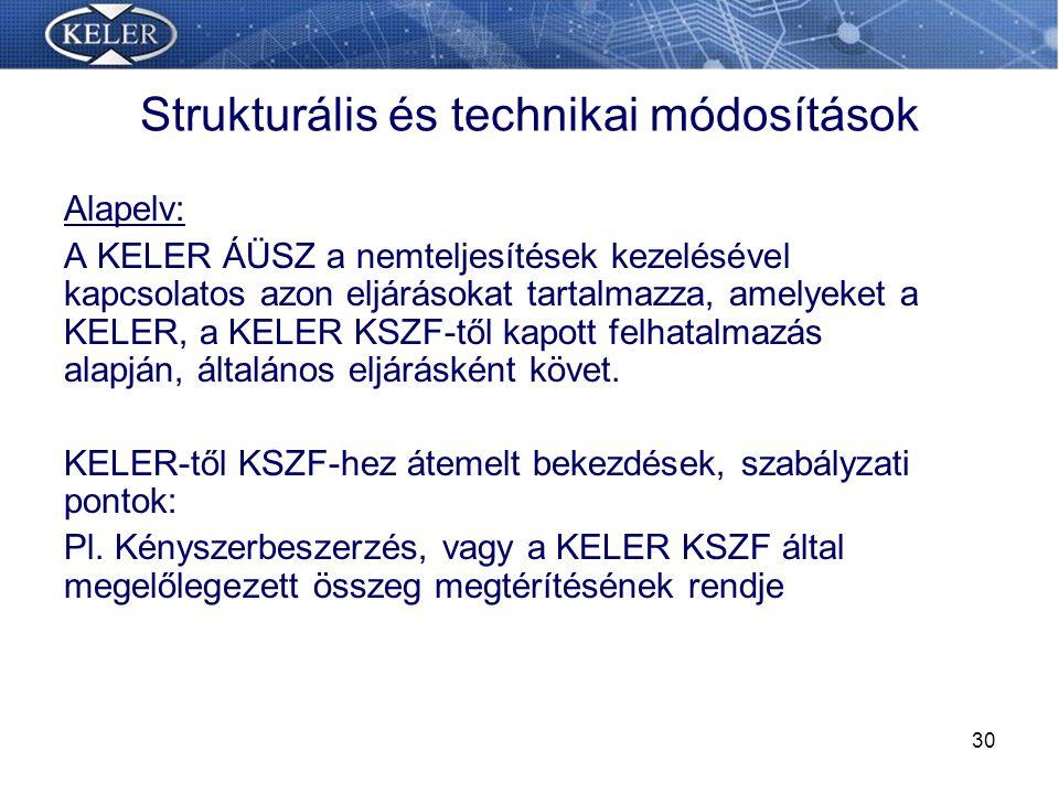 Strukturális és technikai módosítások