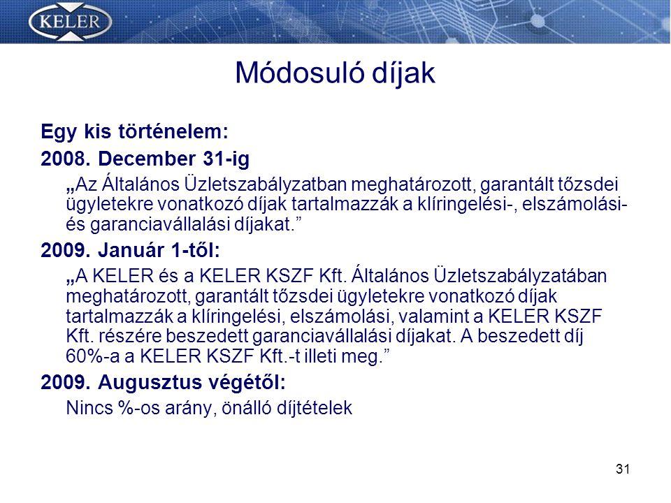 Módosuló díjak Egy kis történelem: 2008. December 31-ig