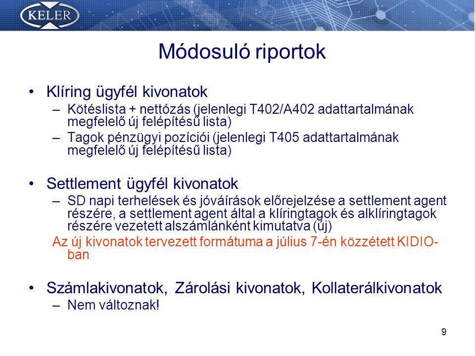 Módosuló riportok Klíring ügyfél kivonatok Settlement ügyfél kivonatok