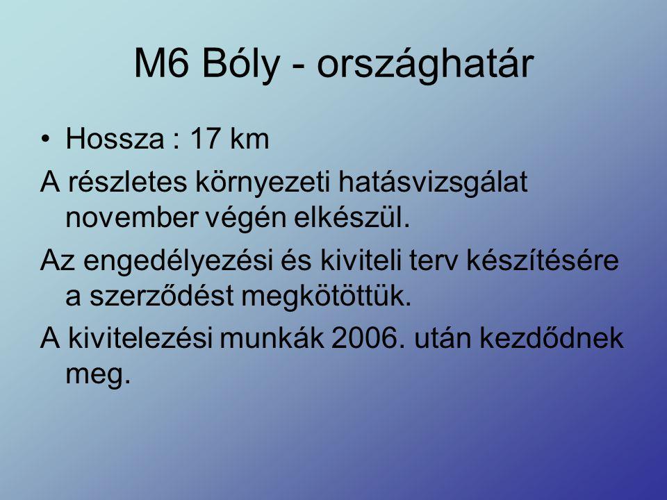 M6 Bóly - országhatár Hossza : 17 km