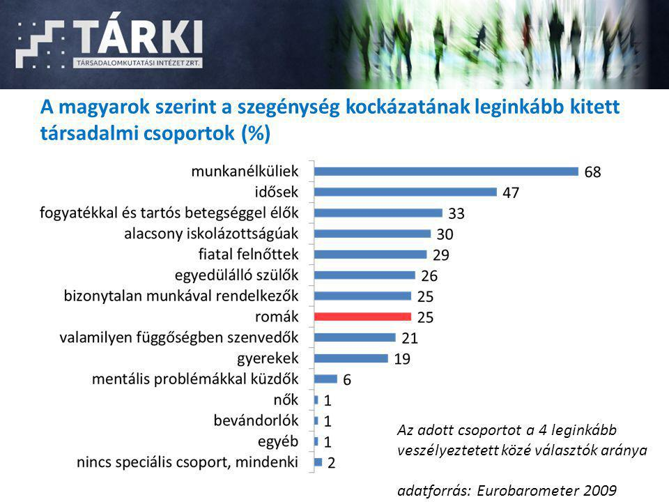 A magyarok szerint a szegénység kockázatának leginkább kitett társadalmi csoportok (%)