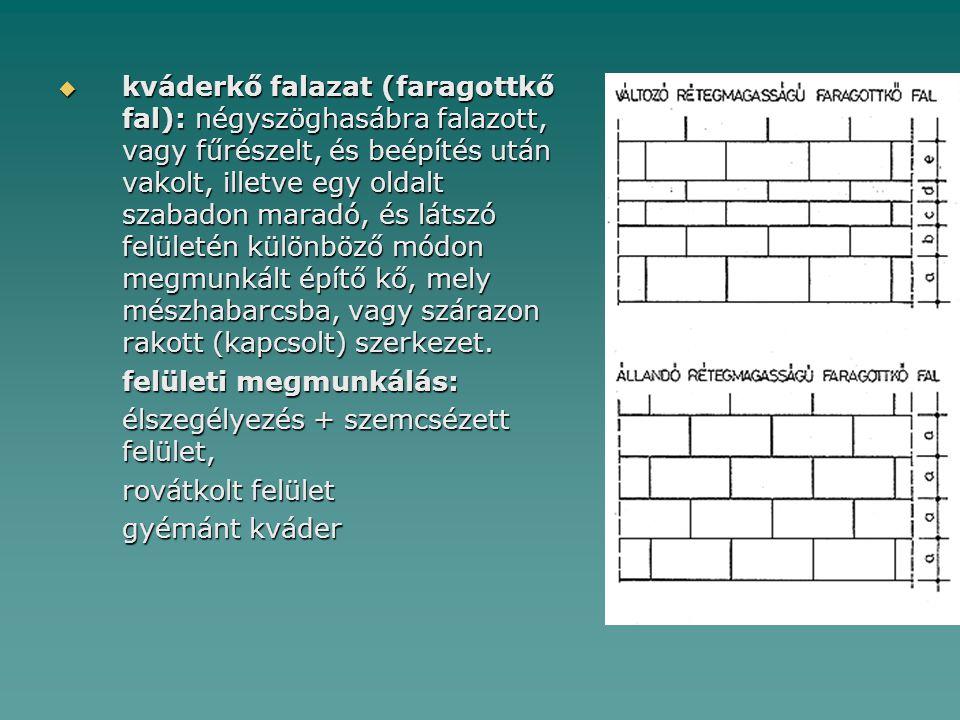 kváderkő falazat (faragottkő fal): négyszöghasábra falazott, vagy fűrészelt, és beépítés után vakolt, illetve egy oldalt szabadon maradó, és látszó felületén különböző módon megmunkált építő kő, mely mészhabarcsba, vagy szárazon rakott (kapcsolt) szerkezet.
