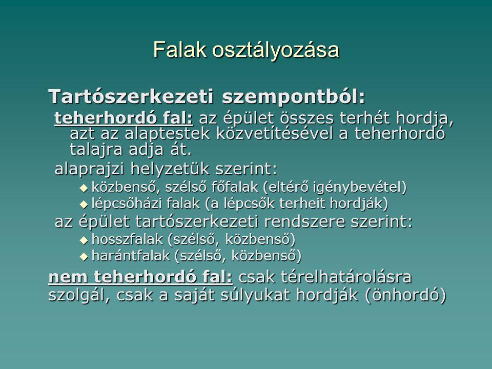 Falak osztályozása Tartószerkezeti szempontból: