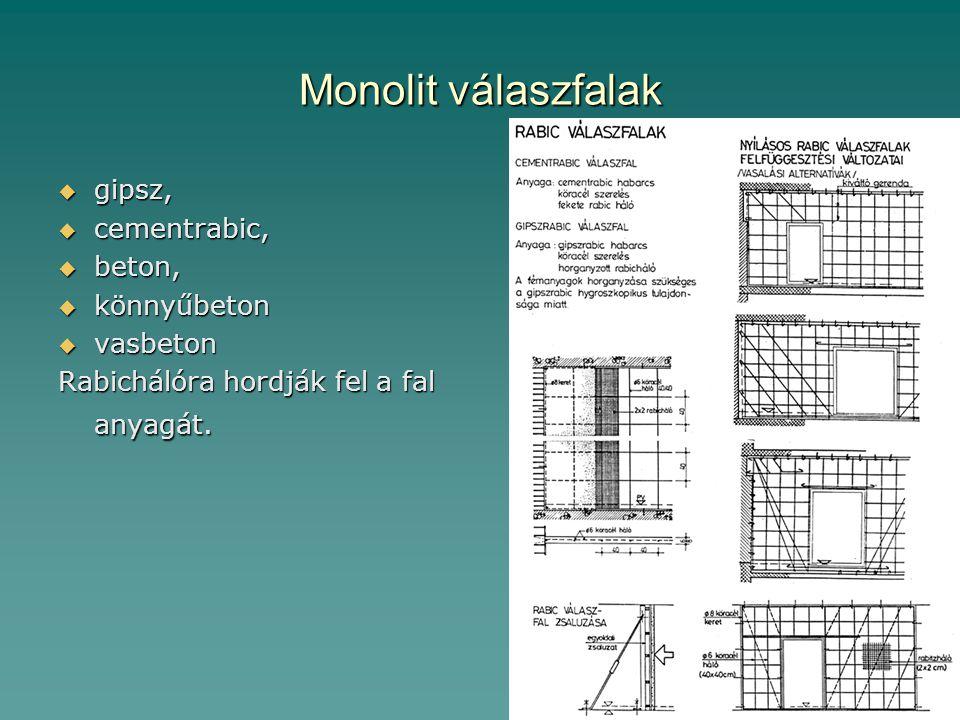 Monolit válaszfalak gipsz, cementrabic, beton, könnyűbeton vasbeton