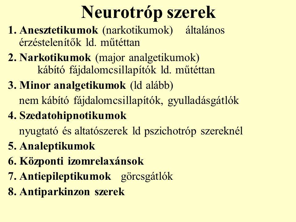 Neurotróp szerek 1. Anesztetikumok (narkotikumok) általános érzéstelenítők ld. műtéttan.