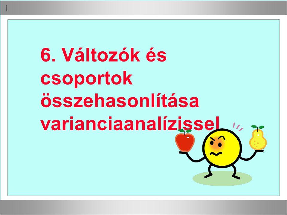 6. Változók és csoportok összehasonlítása varianciaanalízissel