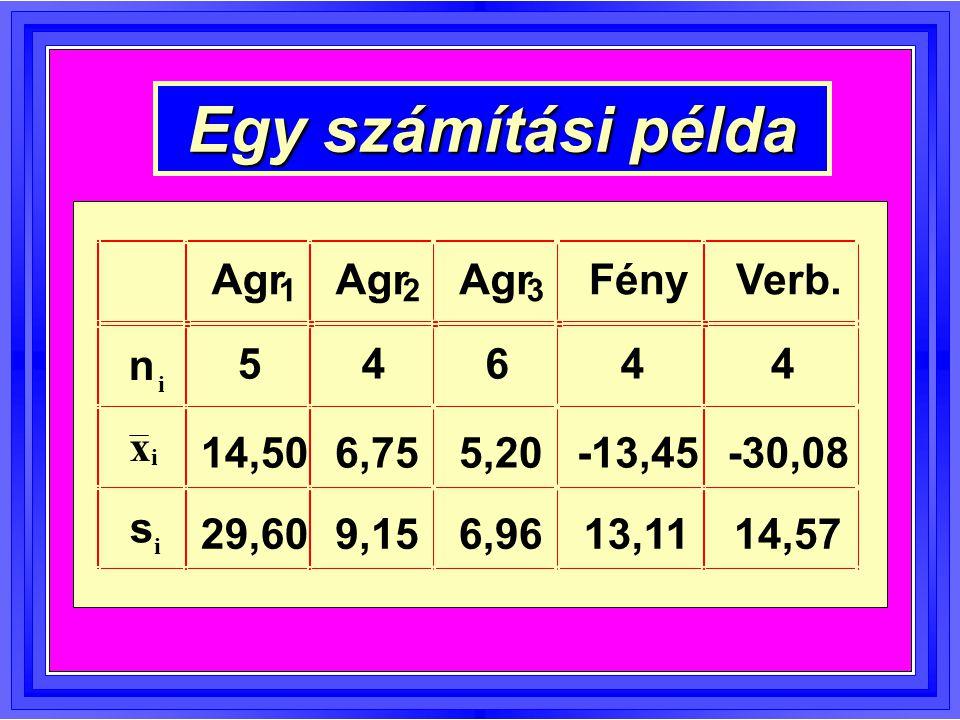 Egy számítási példa Agr Agr Agr Fény Verb. n 5 4 6 4 4 x 14,50 6,75