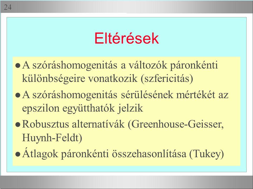 Eltérések A szóráshomogenitás a változók páronkénti különbségeire vonatkozik (szfericitás)