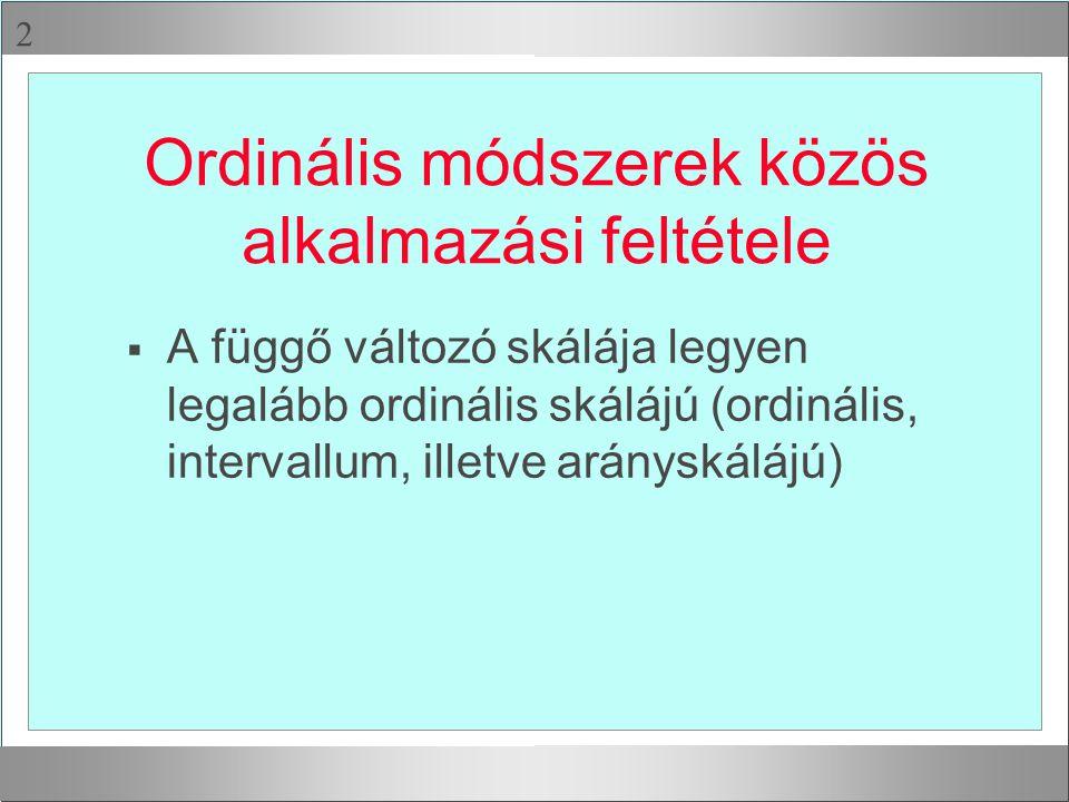 Ordinális módszerek közös alkalmazási feltétele