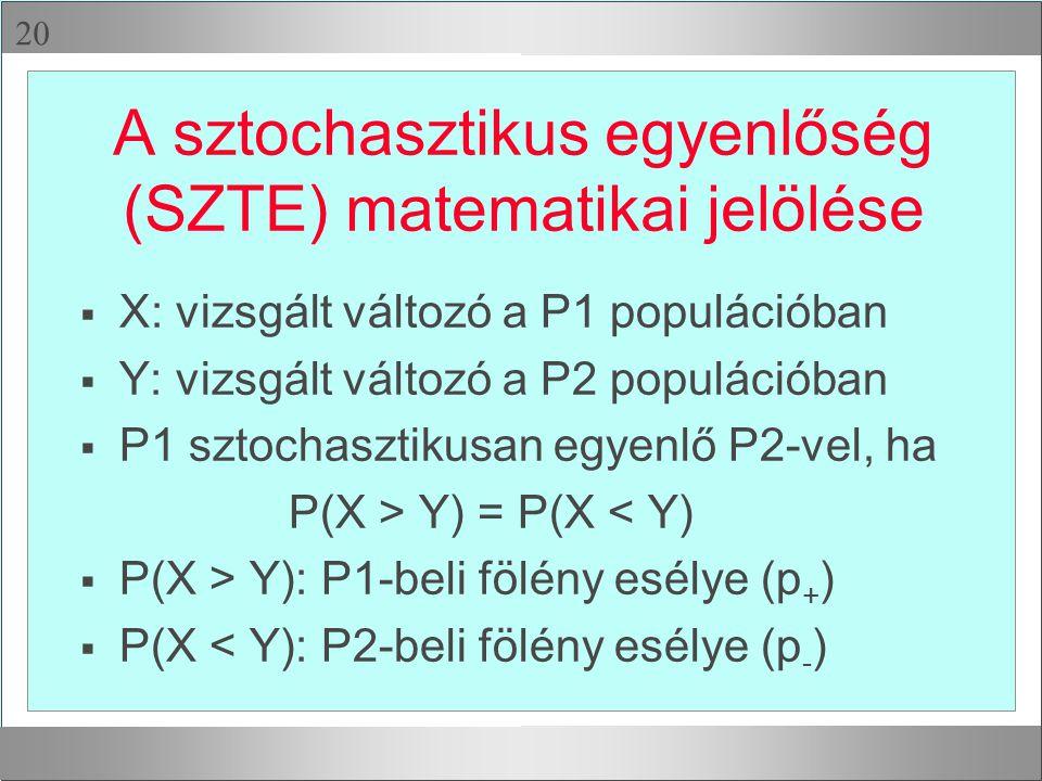 A sztochasztikus egyenlőség (SZTE) matematikai jelölése