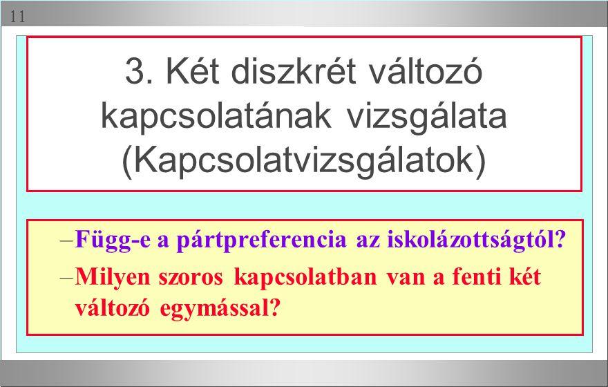 3. Két diszkrét változó kapcsolatának vizsgálata (Kapcsolatvizsgálatok)